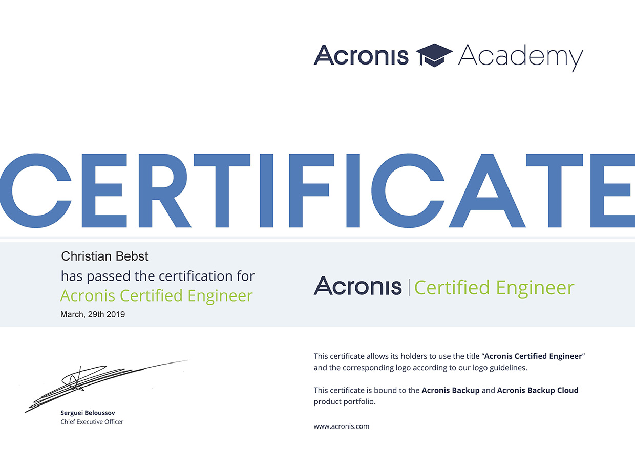 Acronis Zertifikat - Acronis Engineer - Christian Bebst